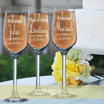 7 to 12 Bridesmaid Champagne Toasting Flutes Personalized * Sophisticated Tulip Flute Design * Script Font with Fun Flair * Bridesmaids