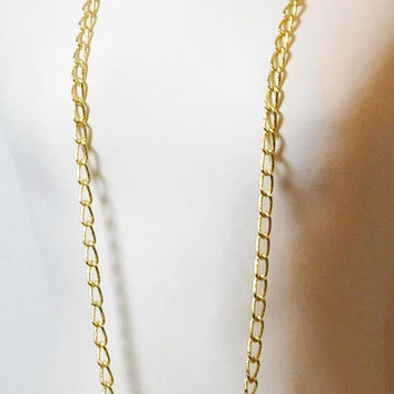 "Long Chain Necklace, 50 1/2"", Large Chain Links, Shiny, Gold Tone, Vintage, Flapper Style, 20s Necklace"