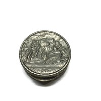 Vintage Italian Repousse Pill Box 800 Silver Musicians, Snuff Box, Ring Box Made in Italy, Silver Trinket Box, Gift for Groom
