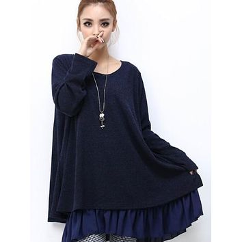 Womens Layered Tunic Sweater Dress with Frill Trim in Navy