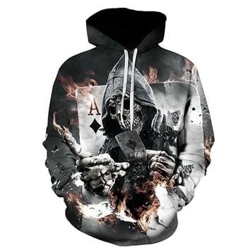Skull Poker Hoodies Sweatshirts Men Women 3D Pullover Funny Rock Tracksuits Hooded Male Jackets Fashion Casual Outwear Winter