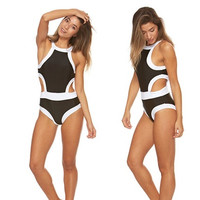 Bra Society Luxe Black and White One Piece Swimsuit