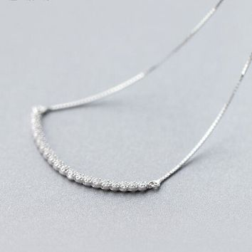 Real. 925 Sterling-Silver-Jewelry White CZ stone setted Paved Slide Arch Pendant Necklace 925 sterling silver GTLX657