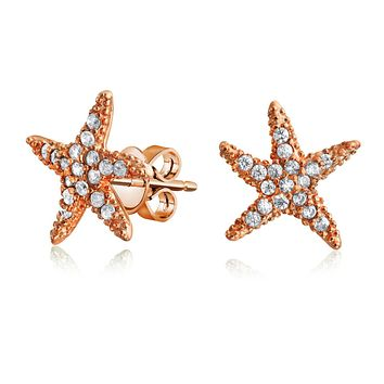 Pave CZ Starfish Shaped Stud Earrings Rose Gold Plate Sterling Silver