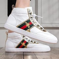 GUCCI Trending Men Leisure High Top Flats Stripe Bee Sport Shoes Sneakers 2#