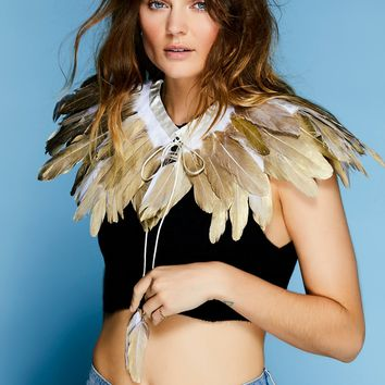 Free People Fly Away With Me Feather Collar