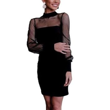 [15505] Mesh Yoke Long Sleeve Little Black Dress