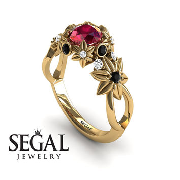 Unique Engagement Ring 14K Yellow Gold Flowers And Branches Art Deco Edwardian Ring Ruby With Black Diamond - Katherine