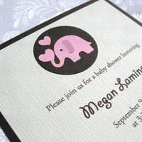Handmade Pink Elephant Girl Baby Shower Invitations - Set of 8