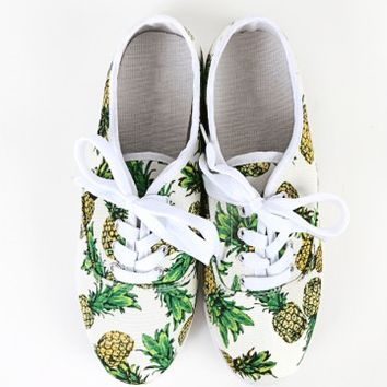 Lace Up Pineapple Sneakers | MakeMeChic.com