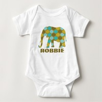 Olive Green Sky Blue Pattern Elephant Shirt