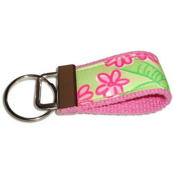 Tiny Key Ring Chain Fob made with Lilly Pulitzer by xoribbons