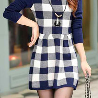 Blue Knitted Long Sleeve Plaid Skater Dress