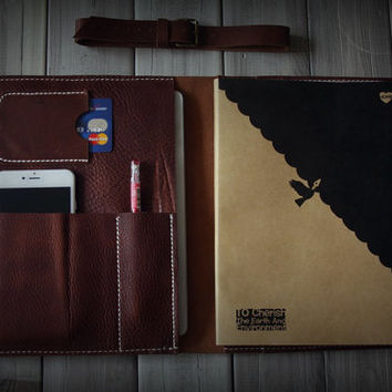 Leather iPad Case Portfolio, iPad Air Sleeve, X Large Moleskine notebooks Cover Sleeve - Ready For Ship, Brown Red
