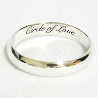 Personalized Ring Engraved Ring with Black Character 4 mm Width