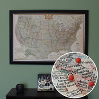 Personalized US Travel Map with Pins and Frame