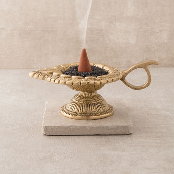 Lotus Om Oil Lamp and Burner