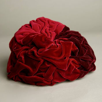 Evelyn Varon Millinery Vintage Red Velvet Hat Maroon Rose Amazing Design