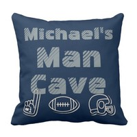Man Cave Football Sports Team Personalized Blue Throw Pillow