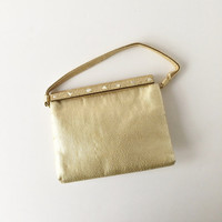 Vintage After Five Gold Lamé Evening Bag with Mother of Pearl Inserts Bead Encrusted Closure and Attached Coin Purse, Cocktail Handbag