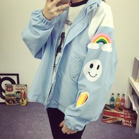 2016 Spring Korean Harajuku style cartoon printing loose women windbreaker jacket tide