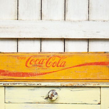 Vintage  Coca Cola  Crate,  Vintage Wooden Yellow Cola Carton ,  Yellow Coke 24 Bottles, Coke Collectible
