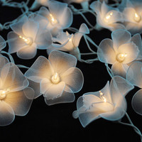 20 White Orchid Flowers String Lights Fairy lights Party Decor Wedding Garden Spa and Holiday Lighting