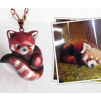 Red panda necklace or brooch, polymer clay animal pin or pendant, animal jewelry - CHARITY ITEM
