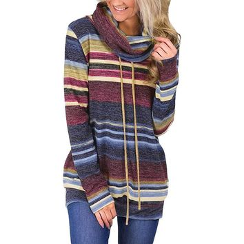 Autumn winter hoodies Turtle Neck full sleeves 2018 striped sweatershirts femininas outerwear pullovers clothing WS9583Y