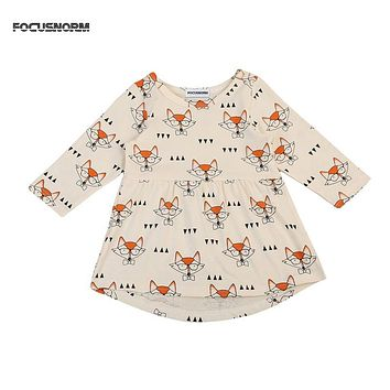 Stylish Kids Girls Dresses New Birthday Party Long Sleeved A-line Little Fox Printed Dress Cotton Wedding Dress Vestido Infantil