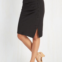 Vintage Inspired Long Pencil A Trip Into Town Skirt in Black