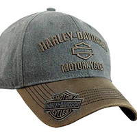 Harley-Davidson Men's H-D Motorcycles Logo Baseball Cap, Gray/Brown BCC51639