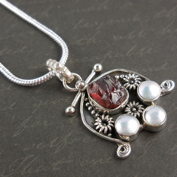Garnet Rough & Pearl Sterling Silver Necklace