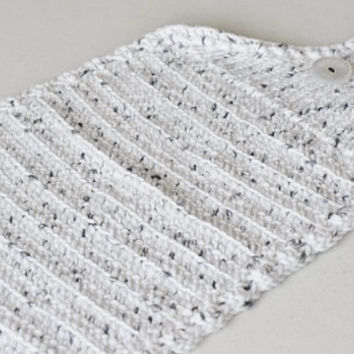 Hanging Kitchen Towel Crochet and Knit in White with Grey Specks - 100% Cotton Handmade Towel Topper - Matches Dishcloths in our shop!