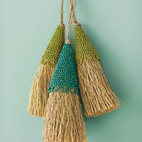 Wood Bead Vetiver Tassels (set of 2)