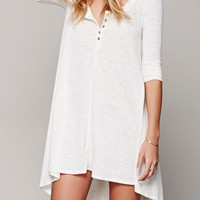 White Button Detail Dress