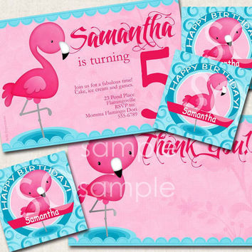 Flamingo Birthday Party Package, invitation, tags, thank you, pink blue, digital file, you-print