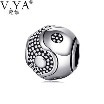 V.Ya High Quality DIY Eight Diagrams Bead fit for Pandora Big Hole Vintage Style Beads for Chain Accessories DZ1363
