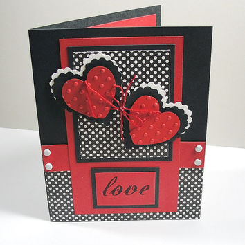 Valentine Card - Valentine's Day Card - Greeting Card - I Love You Card - Anniversary Card, Handmade Card,