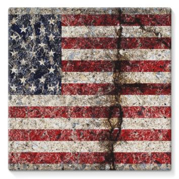 Rustic Cracked Concrete American Flag Stretched Eco-Canvas
