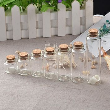 Mini Bottle with Cork Stopper 10ml 15ml 20ml 25ml 30ml 40ml 55ml Empty Bottles Containers Jars Vial idea for Wedding Gift 50pcs