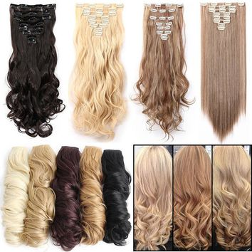 100% Real Natural Clip In Hair Extensions Full Head 8 Pieces On Cheap Sale PH1