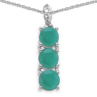 1.60 Carat Emerald & Diamond Sterling Silver Pendant