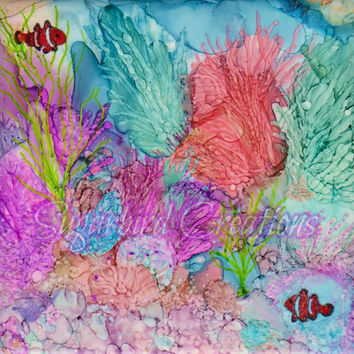 Anenome Garden Alcohol Ink Painting on Ceramic Tile with Black Frame