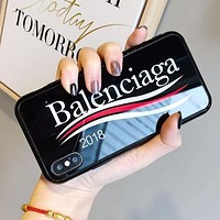 Balenciaga Popular Letter Pattern iPhone Phone Cover Case For iphone 6 6s 6plus 6s-plus 7 7plus iPhone 8 8 Plus iPhone X Black I13562-1