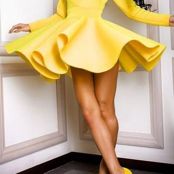Yellow Plain Draped V-neck Fashion Cotton Mini Dress