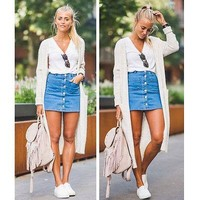Fashion Women Denim High Waist Bodycon Stretch Pencil Short Mini Skirts Summer Jeans Pockets Buttons Leotard Skirt Outfits NEW