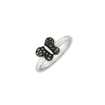 2.25mm Sterling Silver Stackable Marcasite Butterfly Ring