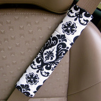 Seat Belt Cover-  White and Black Damask with Reversible Soft Black or Red Minky.