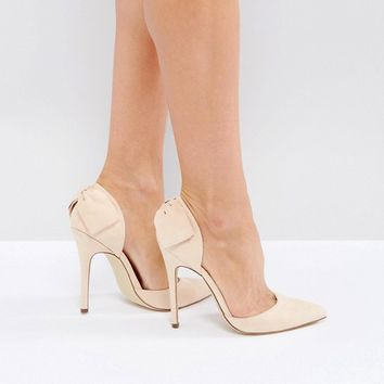 London Rebel Bow Trim Point High Heels at asos.com